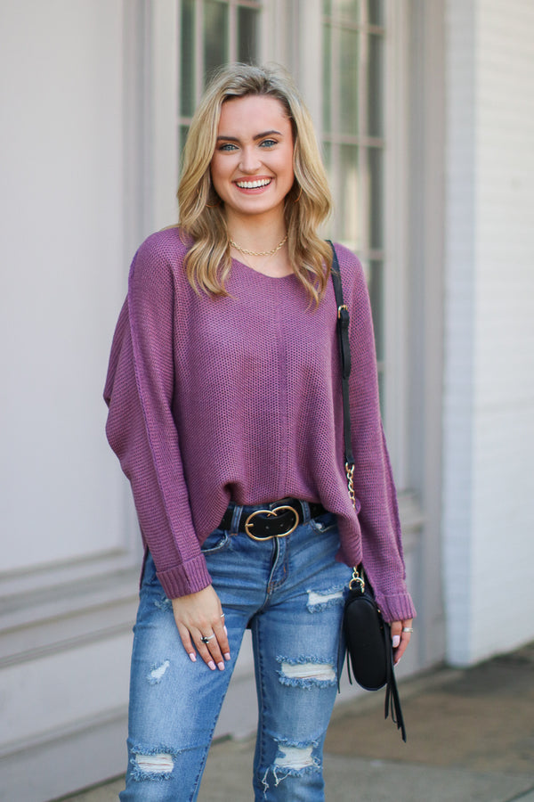 Lavender / S Shaely High Low Knit Sweater - Lavender - Madison + Mallory