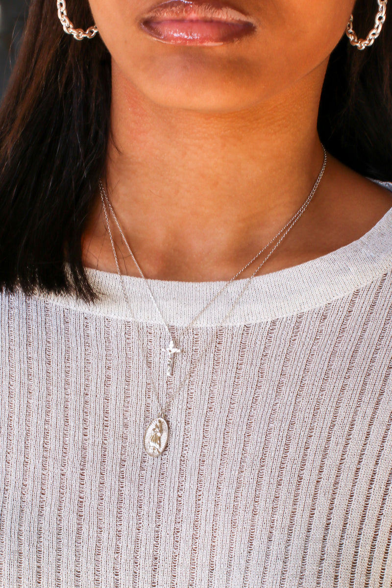 Silver Carolla Cross Layered Necklace - Madison and Mallory