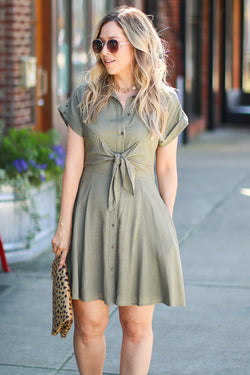 S / Olive Name of Love Button Down Tie Shirt Dress - Madison + Mallory