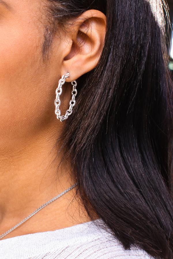 Silver Brya Chain Hoop Earrings - Madison and Mallory
