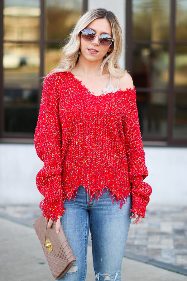 S / Red Something More Multi Color Frayed Sweater - Madison + Mallory