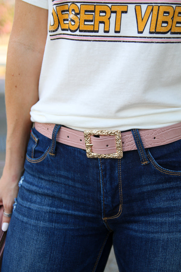 OS / Pink Stylish Agenda Alligator Buckle Belt - Pink - Madison + Mallory