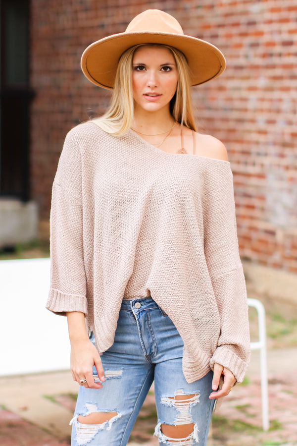 Eggshell / SM Cuddle Weather Relaxed Fit Long Sleeve Sweater - Madison and Mallory