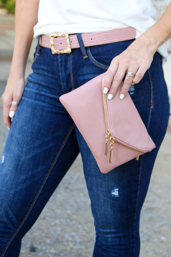 Flaunt It Zip Clutch - Taupe - Madison + Mallory