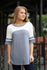 S / Denim Blue Color Block Top - Madison + Mallory