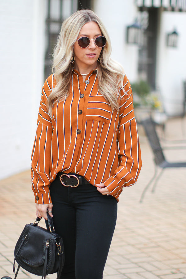 S / Mustard Kinsley Striped Top - Madison + Mallory