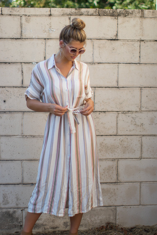 S / Multi Julieta Striped Shirt Dress - Madison + Mallory