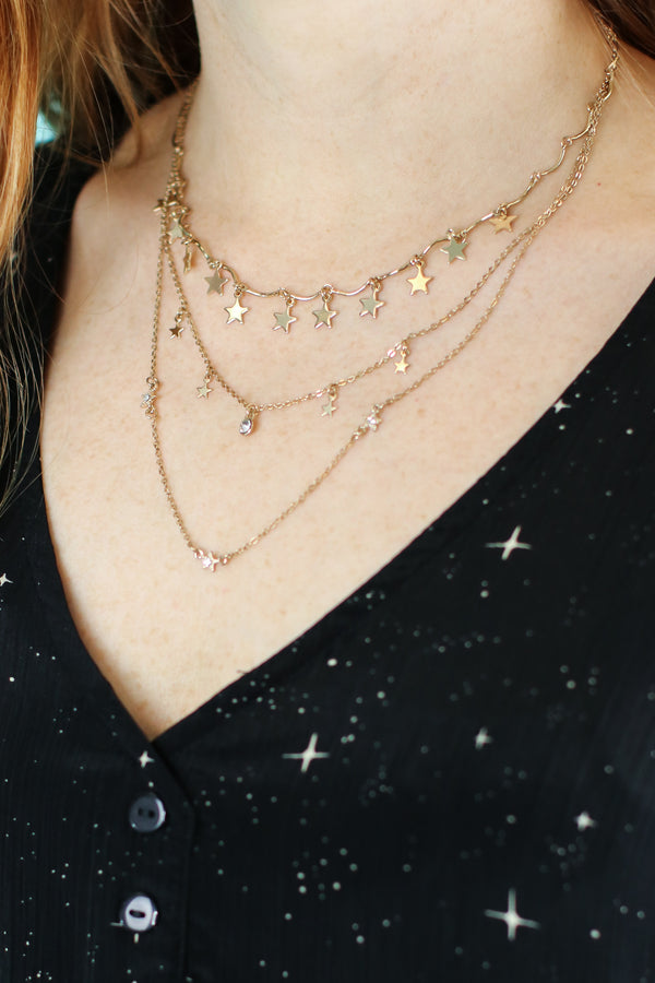 Gold Oasis Star Layered Necklace - Madison and Mallory