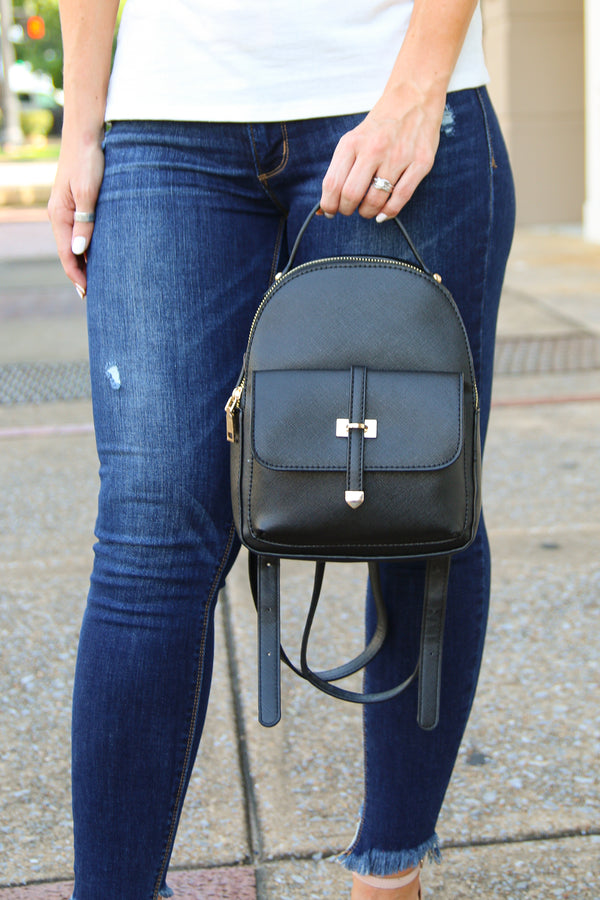 Black Brea Faux Leather Backpack - Black - Madison + Mallory