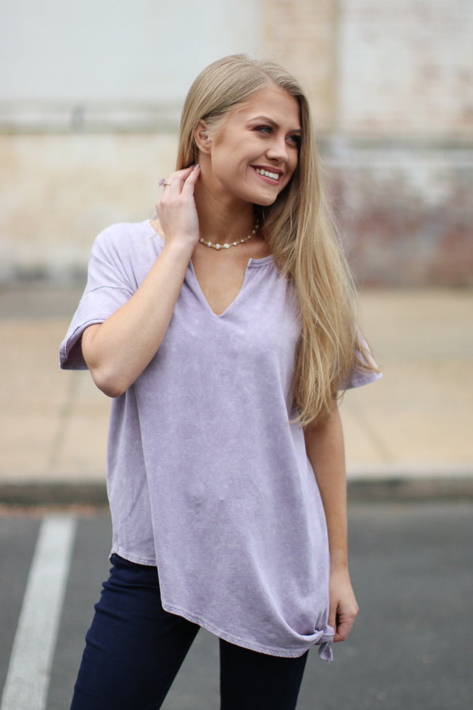 Mineral Wash Side Knotted Top - Madison + Mallory
