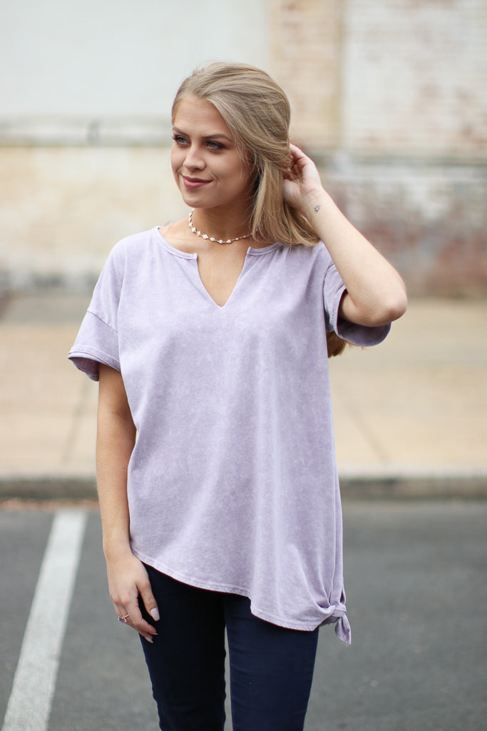 S / Dusty Purple Mineral Wash Side Knotted Top - Madison + Mallory