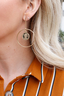 Gold All the Love Coin Earrings - Madison + Mallory