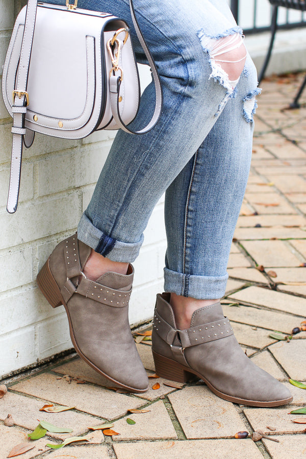 5.5 / Taupe Never be the Same Buckle Booties - Madison + Mallory