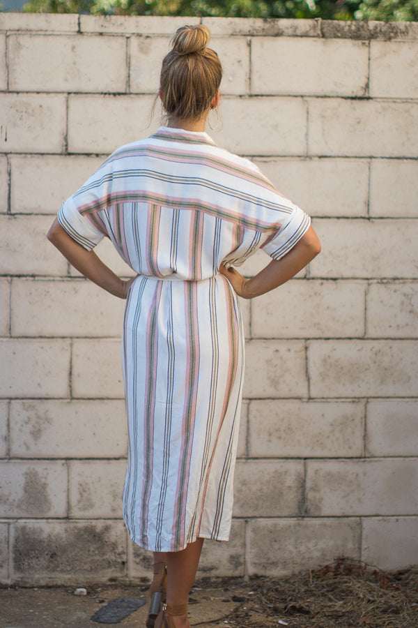 Julieta Striped Shirt Dress - Madison + Mallory