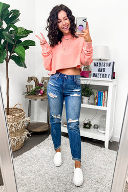 S / MD. Denim Steph Distressed Boyfriend Jeans - Madison and Mallory