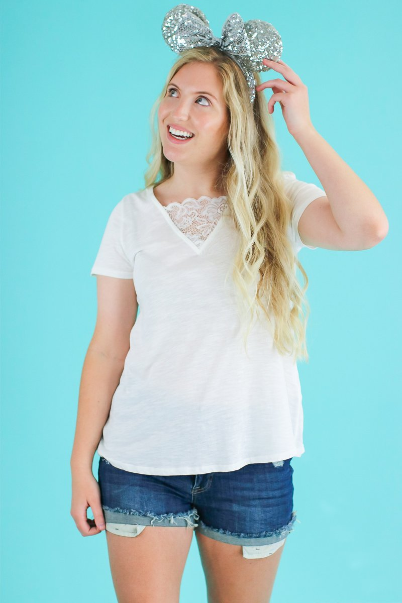 Did it Again Lace Accent Top - Madison and Mallory