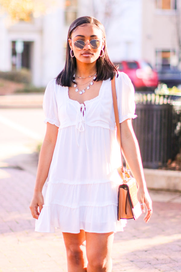 S / Off White Eva Square Neck Tiered Ruffle Dress - Madison and Mallory