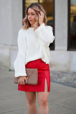 S / Red Red Hot Faux Leather Skirt - Madison + Mallory