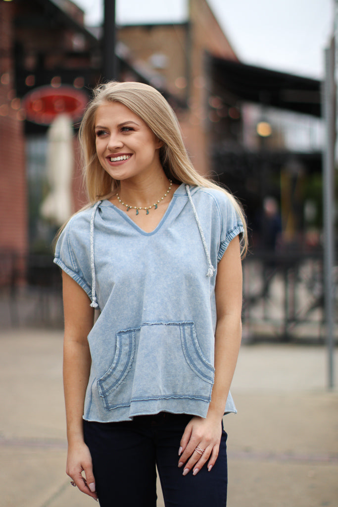 S / Denim Blue Short Sleeve Hoodie - Madison + Mallory