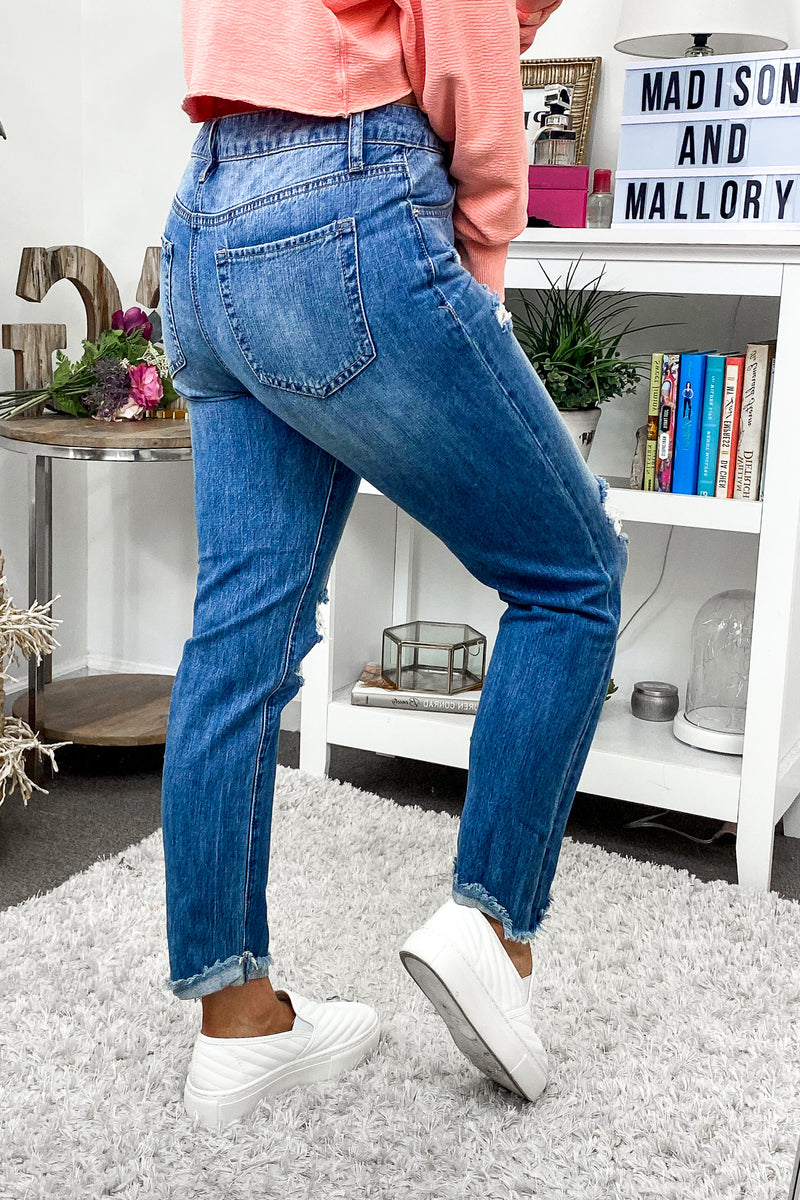 Steph Distressed Boyfriend Jeans - Madison and Mallory