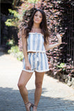 S / Light Denim Frayed Striped Top and Shorts Set - Madison + Mallory