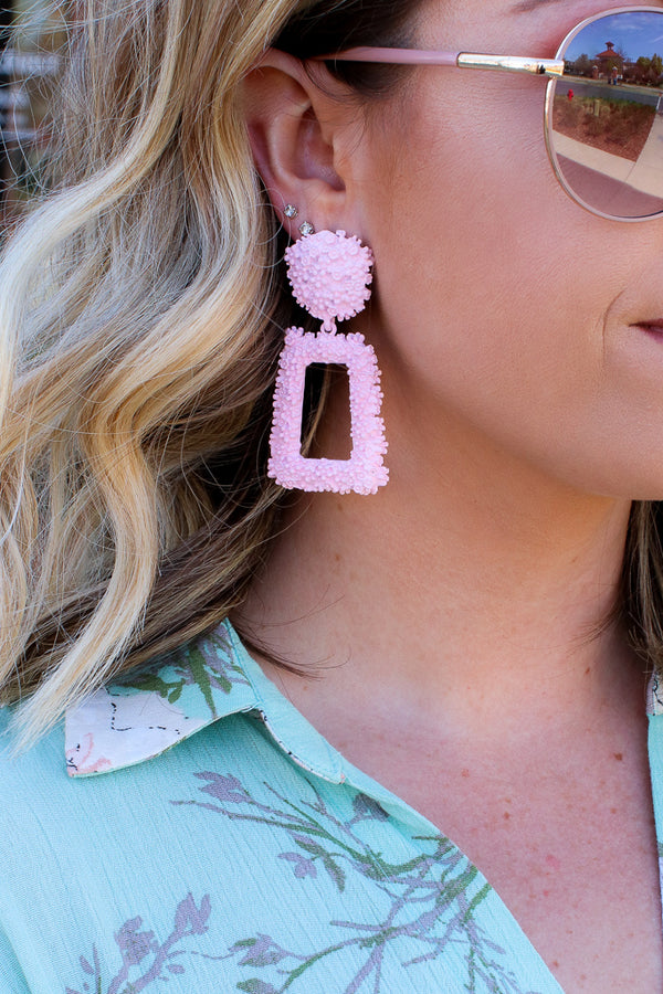 Blush Reputation Statement Drop Earrings - Madison + Mallory