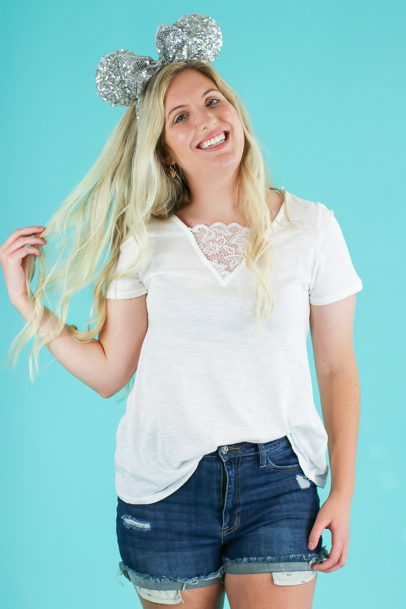 Ivory / S Did it Again Lace Accent Top - Madison and Mallory