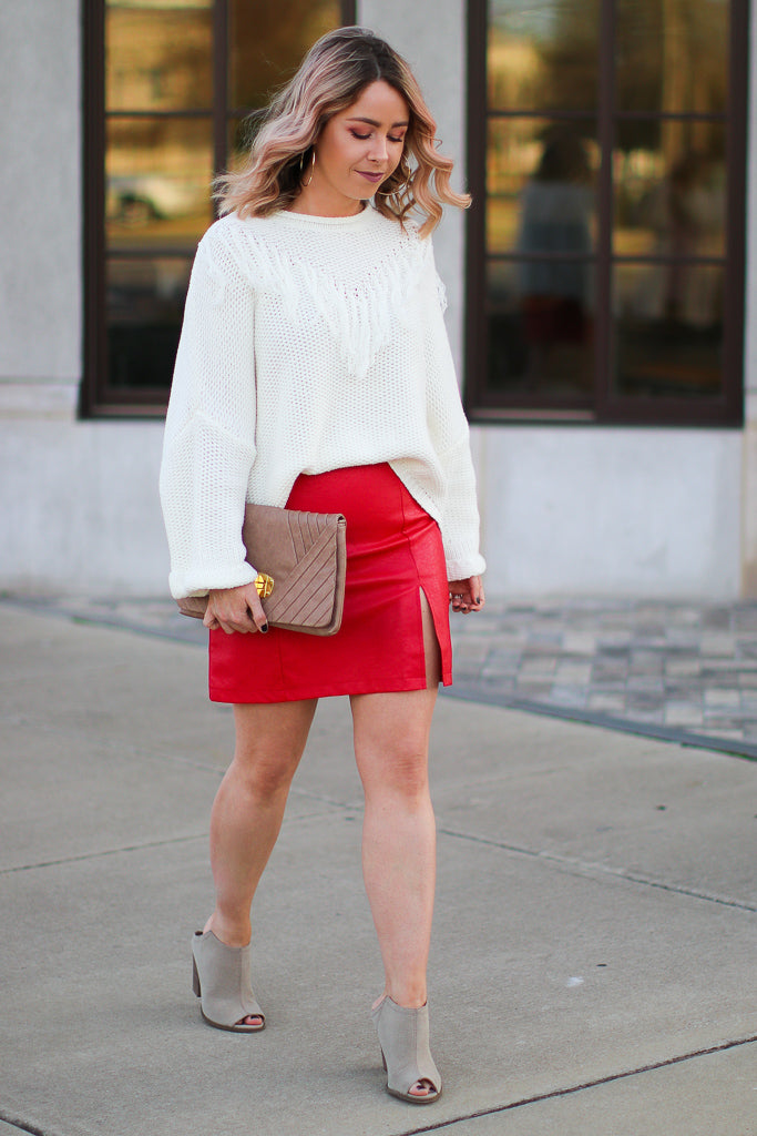 Red Hot Faux Leather Skirt - Madison + Mallory