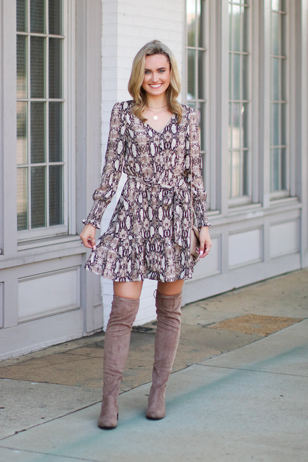 Such a Charmer Snake Print Dress - Madison + Mallory