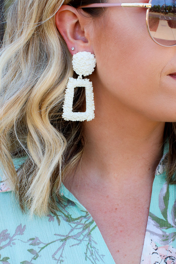 Ivory Reputation Statement Drop Earrings - Madison + Mallory