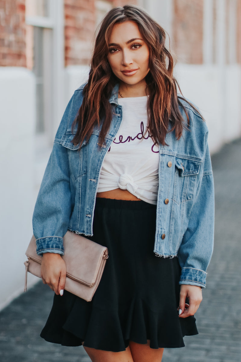 Kierney Denim Jacket- Denim Blue - Madison and Mallory