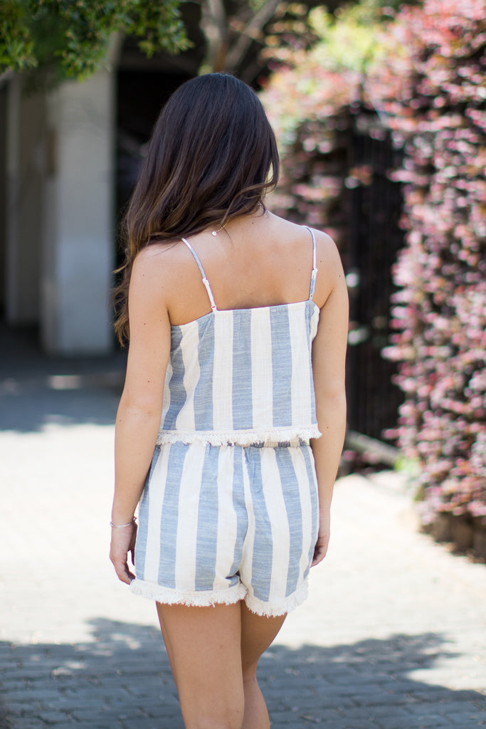 Frayed Striped Top and Shorts Set - Madison + Mallory