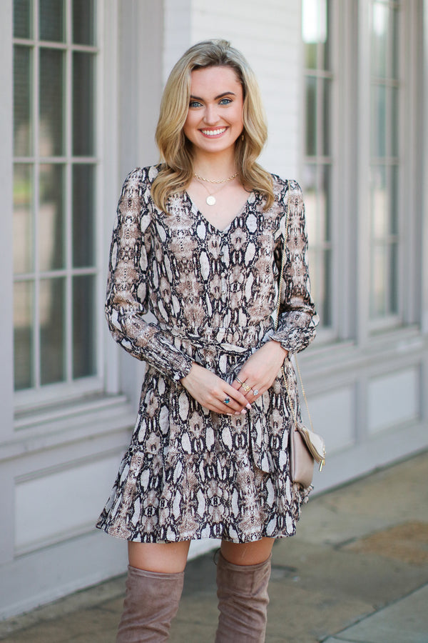 S / Brown Such a Charmer Snake Print Dress - Madison + Mallory