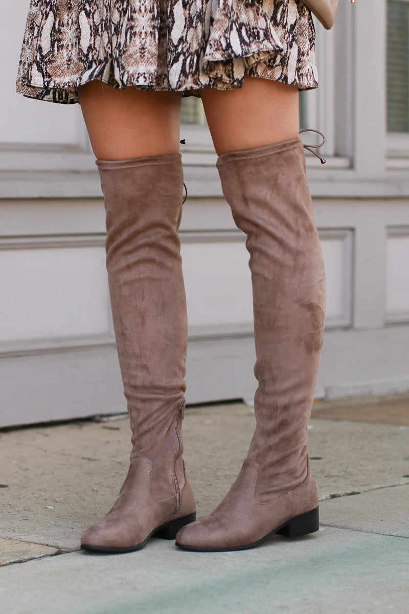 5.5 / Taupe Sassy in Suede Over the Knee Boots - Taupe - Madison + Mallory