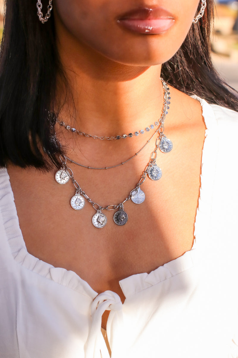 Silver Bliss and Beauty Coin Layered Necklace - Madison and Mallory