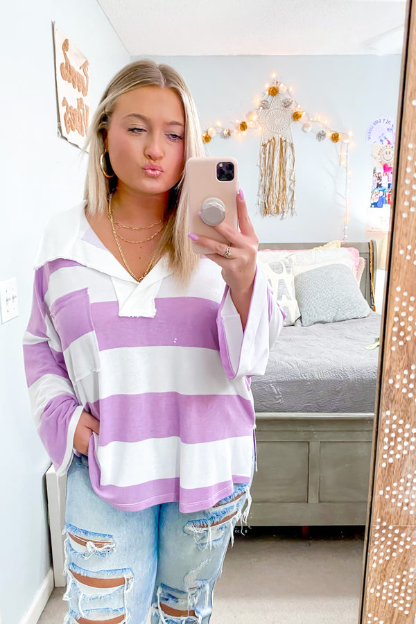 Daytime Dreamer Relaxed Striped Collared Pullover