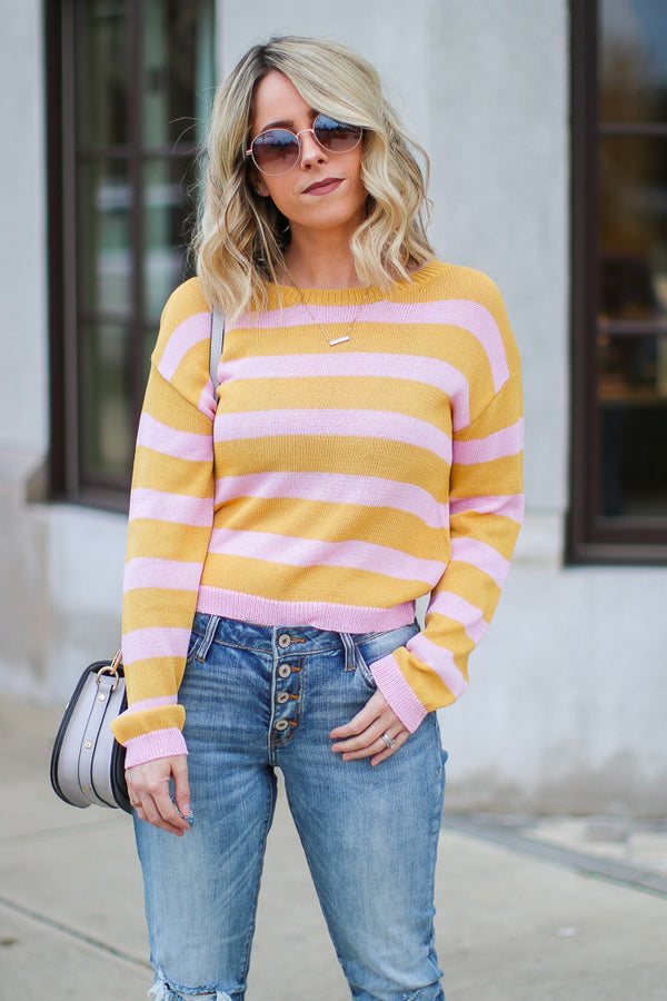S / Pink Can't Walk Away Striped Knit Sweater - Madison + Mallory