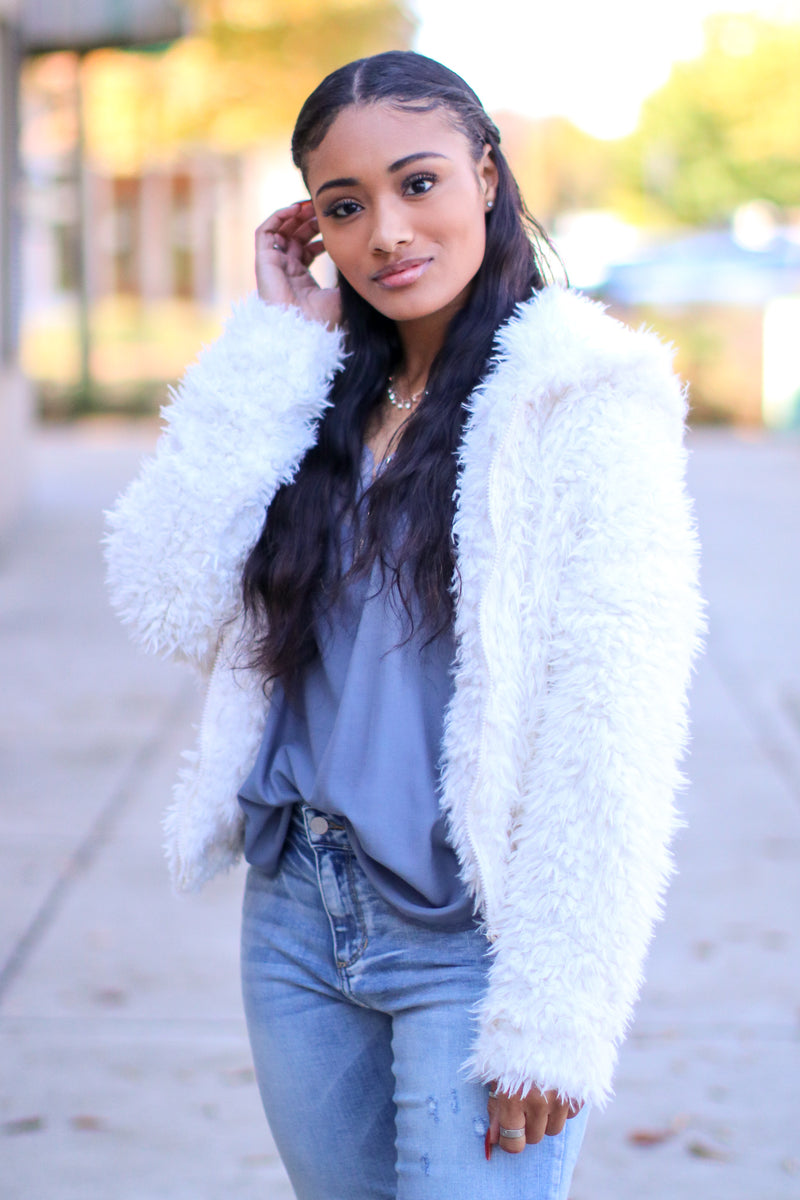 S / Off White Nothing Compares Faux Fur Jacket - FINAL SALE - Madison and Mallory