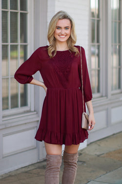 S / Burgundy Fair Maiden Crochet Lace Dress - FINAL SALE - Madison + Mallory