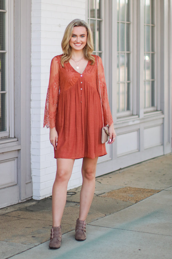 Clear Your Thoughts Flowy Lace Dress - FINAL SALE - Madison and Mallory