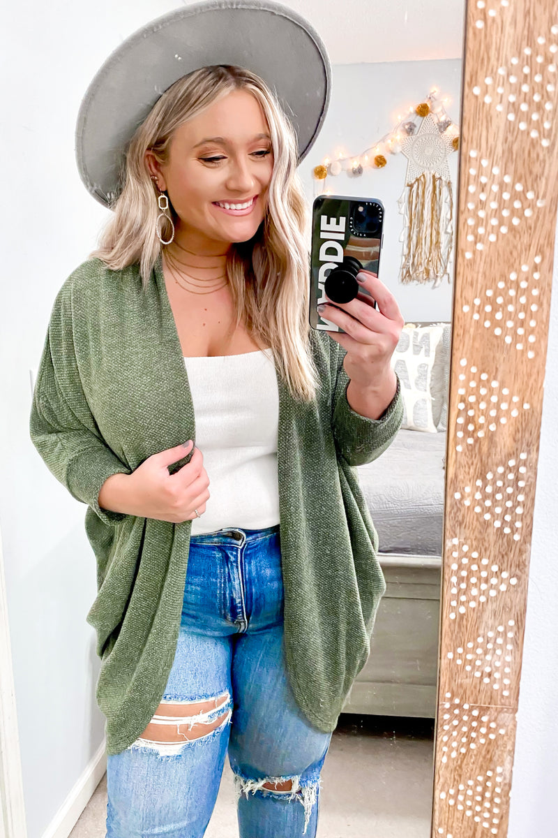 Moss / S Levinson Chenille Draped Cardigan - Madison and Mallory
