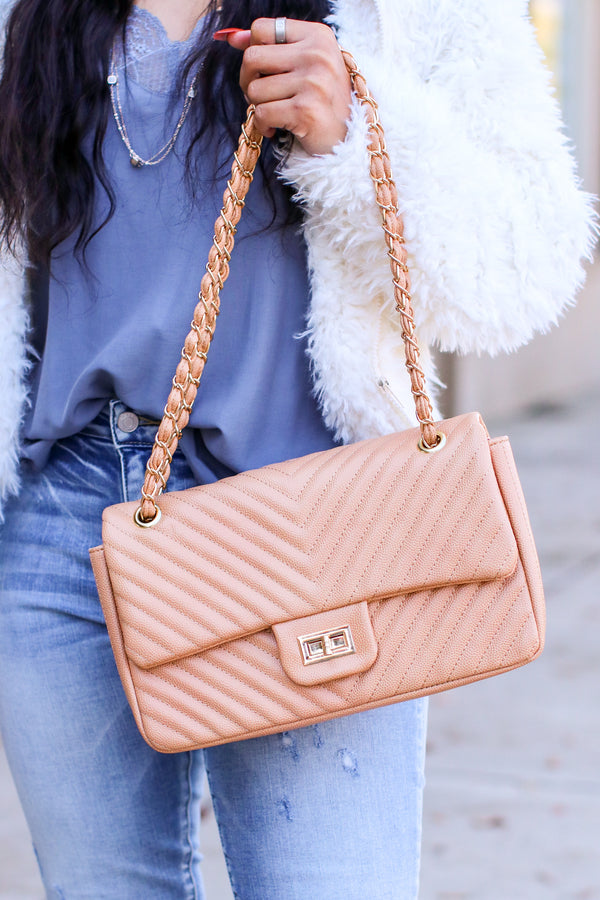 Nude In Line with Style Quilted Flap Crossbody Bag - Madison and Mallory