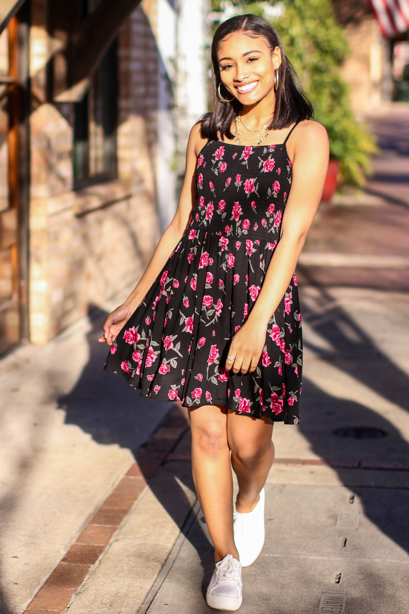 S / Black Tristy Smocked Floral Dress - Madison and Mallory