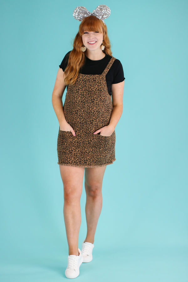 Feline Good Leopard Overall Dress - Madison and Mallory