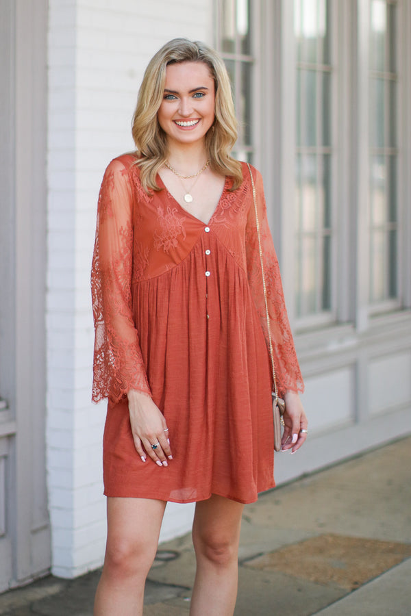 S / Copper Clear Your Thoughts Flowy Lace Dress - Madison + Mallory