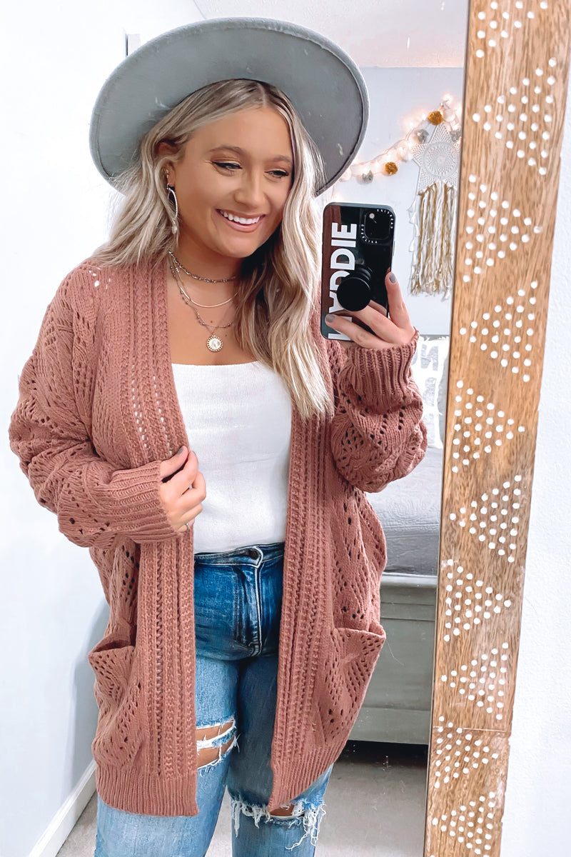 S / Rustic Clay Stylish Standards Pointelle Knit Cardigan - Madison and Mallory