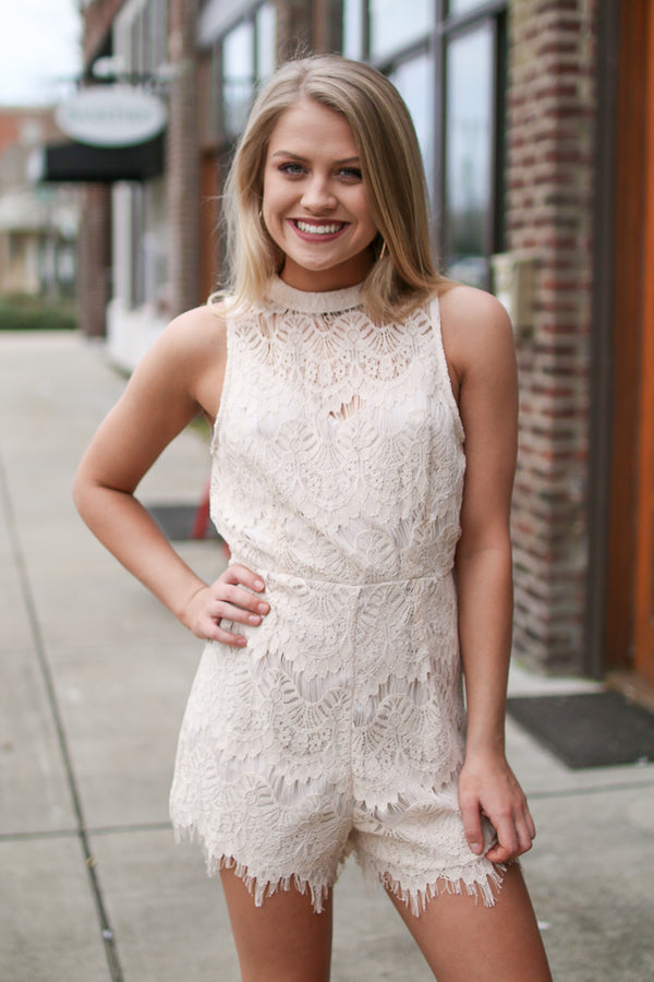 S / Ivory Open Back Lace Romper - Madison + Mallory