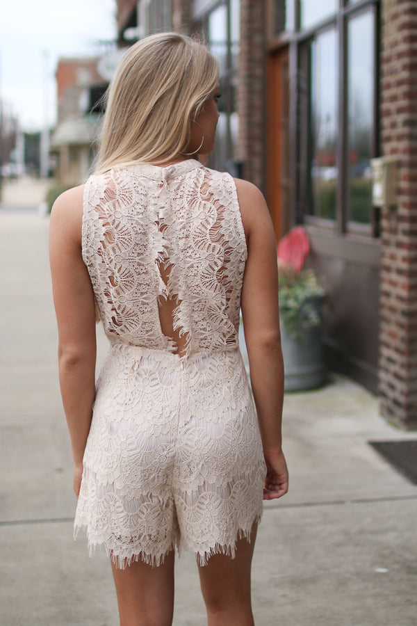 Open Back Lace Romper - Madison + Mallory