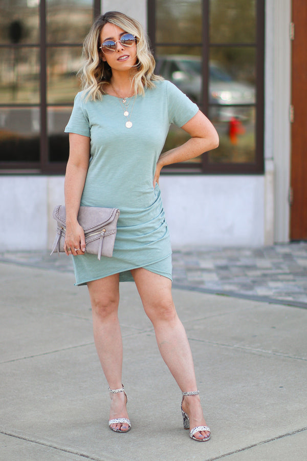 S / Sage Saria Ruched Shirt Dress - Sage - FINAL SALE - Madison + Mallory