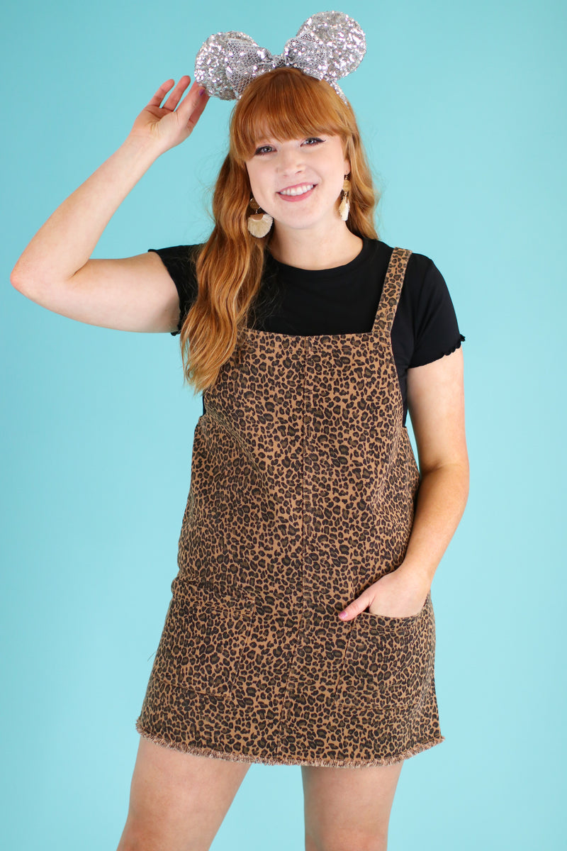 S / Camel Feline Good Leopard Overall Dress - FINAL SALE - Madison and Mallory